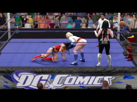 WWE 2K17 Wonder Woman vs. Supergirl, Power Girl, and Donna Troy - 3v1 Handicap Match