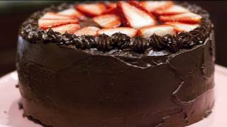 Vegan Devils Food Cake Recipe - Vegan Chocolate Cake Recipe - Ganache