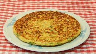 Cómo hacer tortilla de bacalao y pimientos / Receta fácil