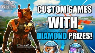 🔴WIN DIAMONDS LIVE // CUSTOM GAMES w/ DIAMOND PRIZES! // Rules of Survival Mobile