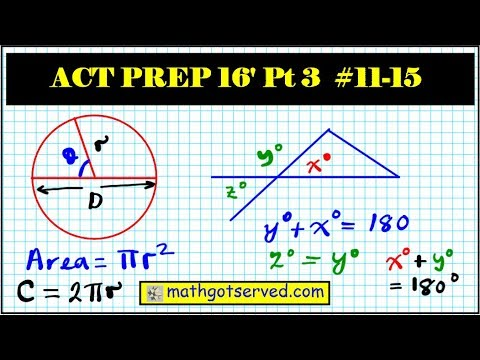 ACT Released Practice math test prep part 3 numbers 11 to 15  (2015 - 2016)