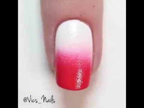 Tutorial su come fare le unghie rosse e bianche❤🌈