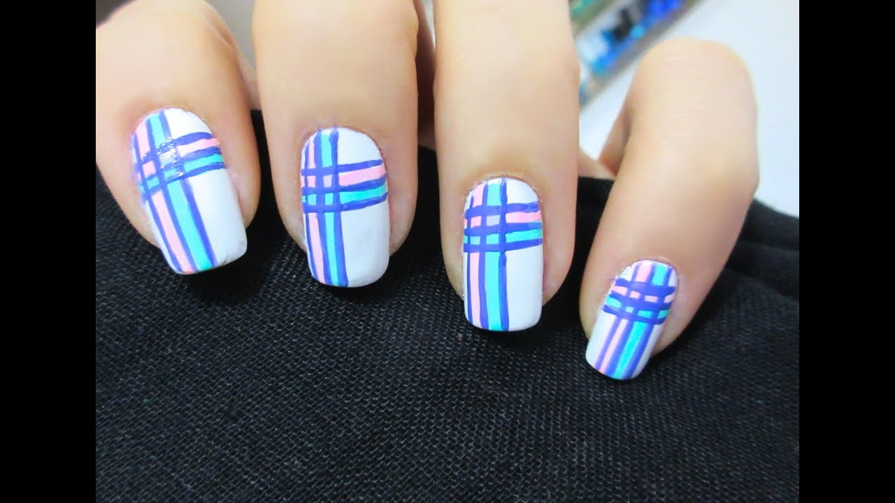 Unhas Decoradas Xadrez Fashion - Plaid Nail Art - YouTube