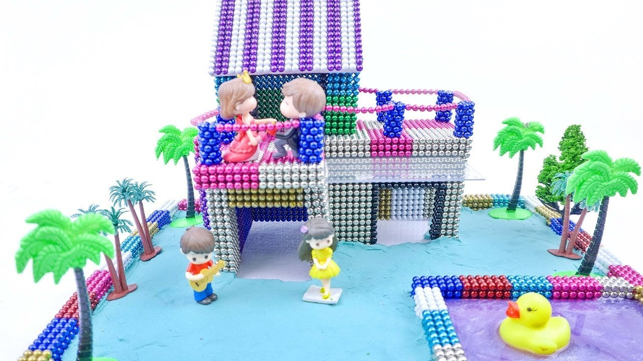 Miniature Dollhouse - How To Build Beautiful House Villa with Magnetic Balls | Learn Color