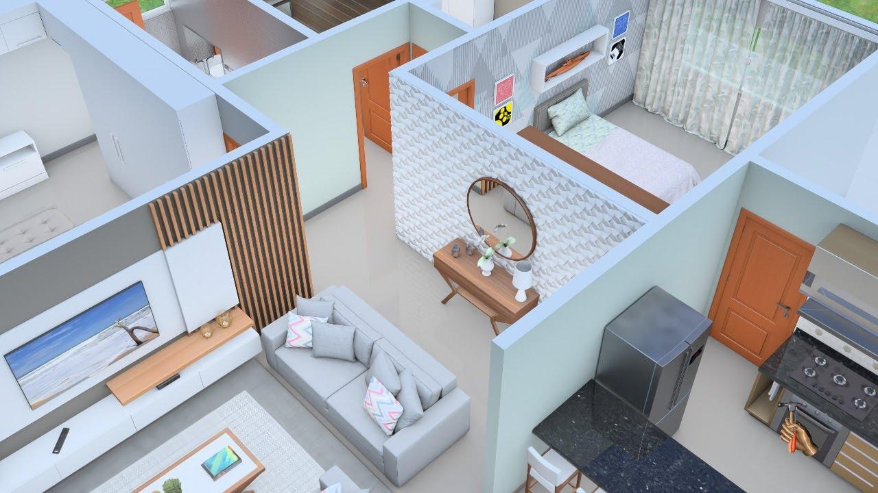 Planta 3D de Casa de Campo com três Quartos e Cozinha americana