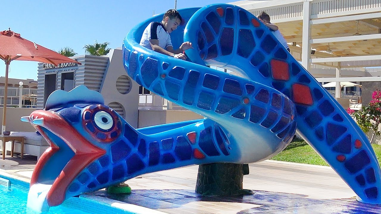 Learn Colors With Funny Kids Water Slide In Aqua Park Outdoor Playground Family Fun In Real Life