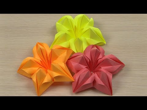 Paper Flowers (DIY, paper crafts, modulinis origami art for kids)