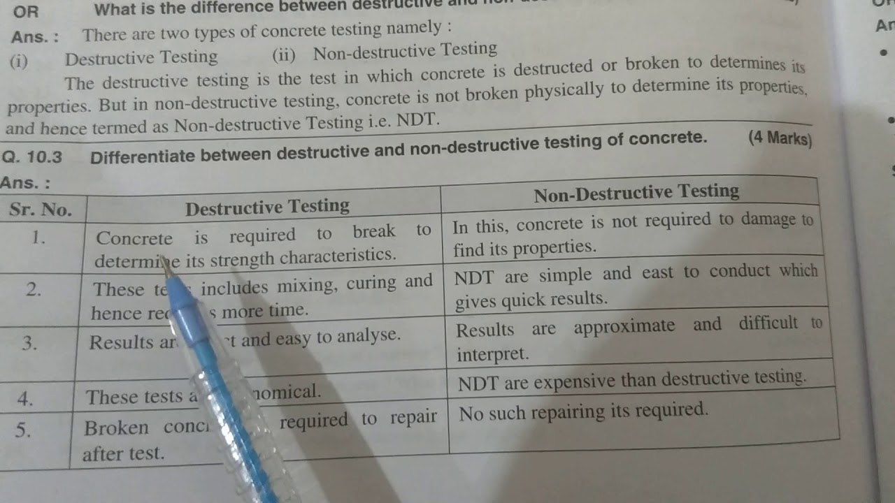 Difference between destructive and nondestructive testing