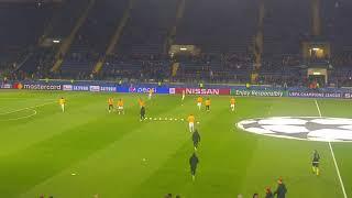 Shakthar-Roma, il riscaldamento dei giallorossi poco prima dell'inizio degli ottavi di Champions