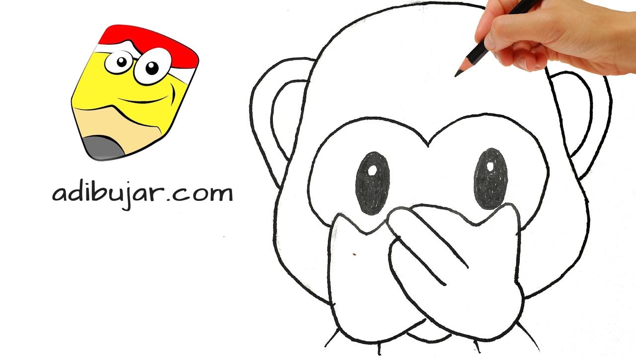 Cómo dibujar emojis: Mono/chango que se tapa la boca - How to draw ...