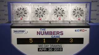Midday Numbers Game Drawing: Monday, April 30, 2018