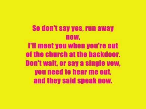 Taylor Swift - Speak Now , lyrics