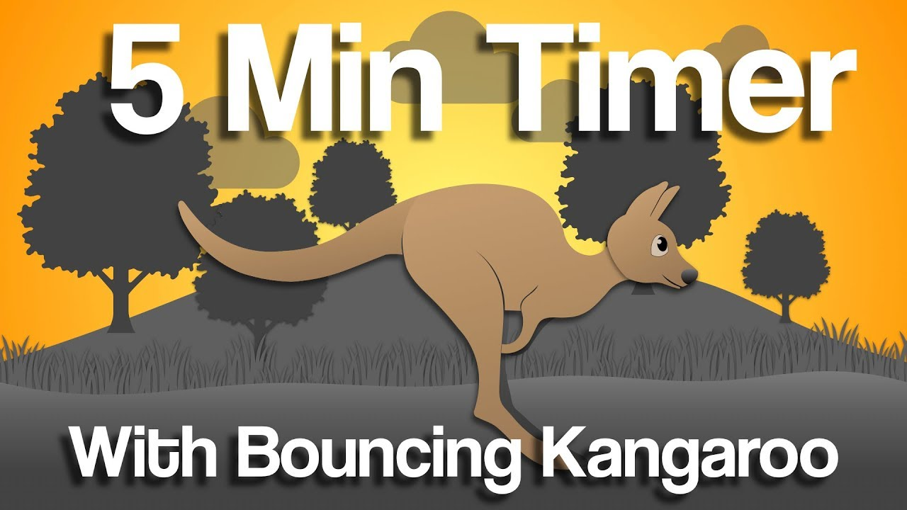 5 min bouncing Kangaroo countdown timer for study, classroom, fitness