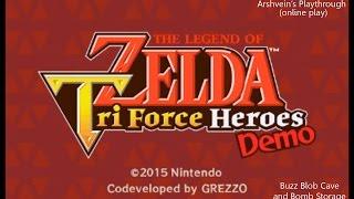 [3DS] The Legend of Zelda : Triforce Heroes Demo - Online Play - Buzz Blob Cave + Bomb Storage