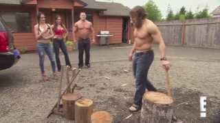 Total Divas Season 1, Episode 2 clip: Bella Twins, John Cena & Daniel Bryan in wood chopping contest