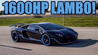1600HP Twin Turbo Aventador Does INSANE FLY BY Leaving Car Show! (UNDERGROUND RACING AVENTADOR)