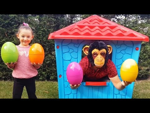 Learn Colors With Colored Eggs, Öykü and Cute Monkey - Funny Oyuncak Avı