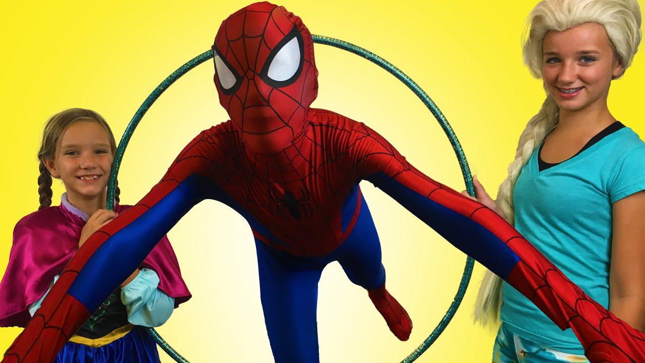 spiderman u0026 frozen elsa u0026 anna play hula hoop superhero movie in