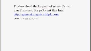 Driver San Francisco Keygen