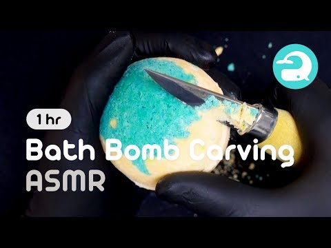 [ASMR] 1 Hour! My Bath Bomb Collection! Super Satisfying Bath Bomb Carving (No Talking) #054