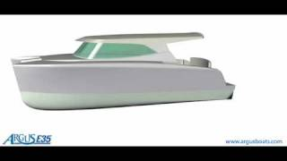 New coastal cruising catamaran design by Roger Hill and manufactured by Argus Boats in Australia