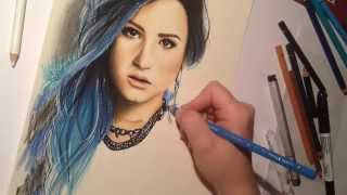Speed drawing of Demi Lovato with colored pencils
