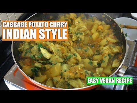 Potato Cabbage Curry - Potato Curry - Cabbage Curry - Aloo Masala - Vegan Recipes