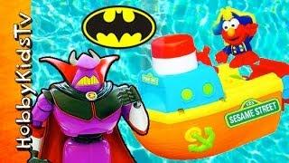 toy story zurg chases elmo peppa pig spongebob batman warn him sesame street hobbykidstv