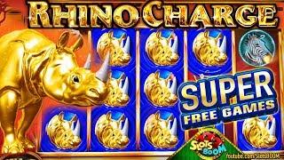 Rhino Charge SUPER FREE GAMES!!! BONUS - Wonder 4 Boost 1c Aristocrat Slots 1st Experience!!!