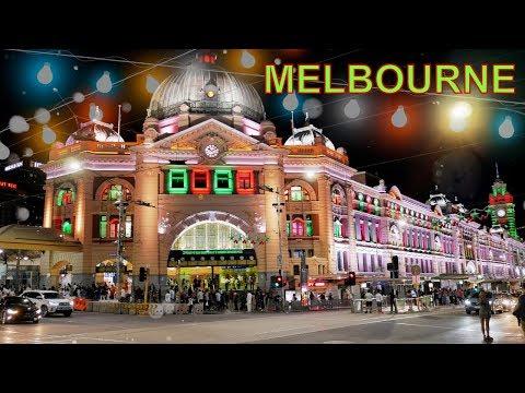 Melbourne City Centre Night Time Christmas 2018 Australia