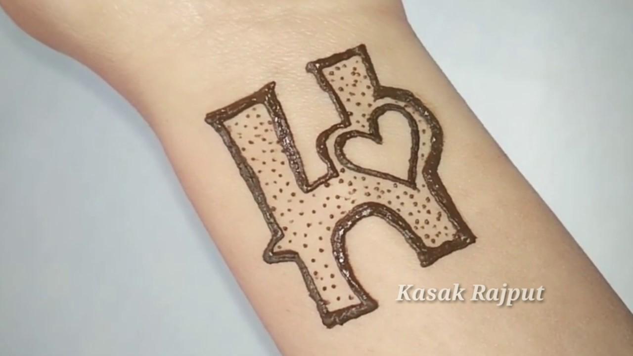 H Letter Tattoo Mehndi Design For Wrist
