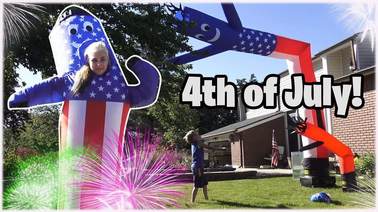 4th of July Family Fun w/ Air Dancers, Inflatables, and Fireworks! Wacky Waving Inflatable Tube Man!