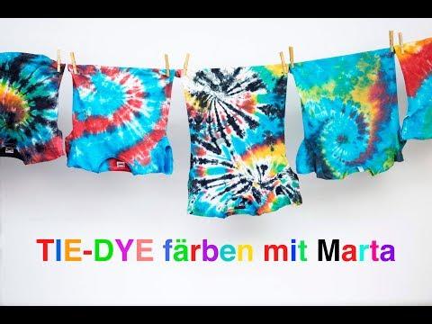 tie dye f rben t shirts mit regenbogenspiralen batiken youtube. Black Bedroom Furniture Sets. Home Design Ideas