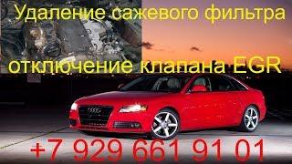 Удаление сажевого фильтра Audi A4 2009 г.в.,отключение клапана EGR, чип тюнинг, Раменское, Москва