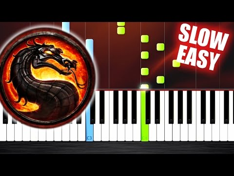 Mortal Kombat Theme - SLOW EASY Piano Tutorial by PlutaX