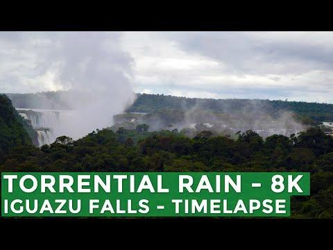 Torrential Rain Iguazu Falls - 8K TimeLapse - NEW 7 WONDERS OF NATURE