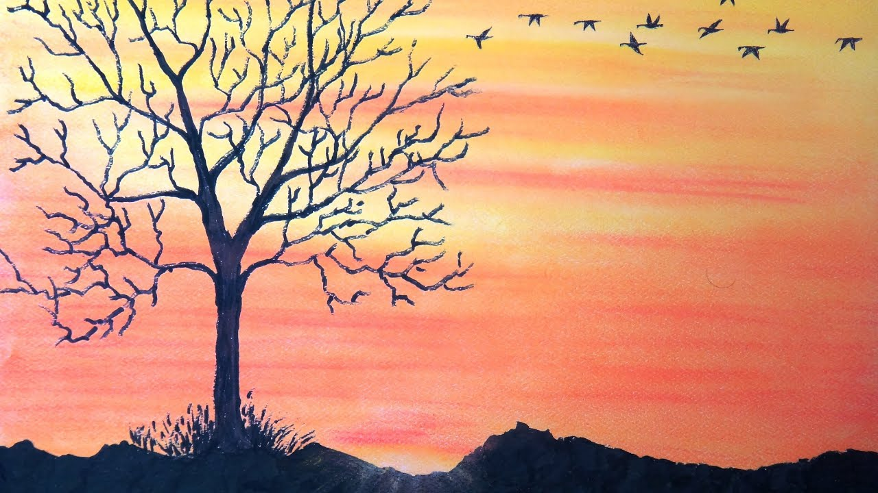 How To Draw Sunset With Pastel  Return To Home  Withmentary  Youtube