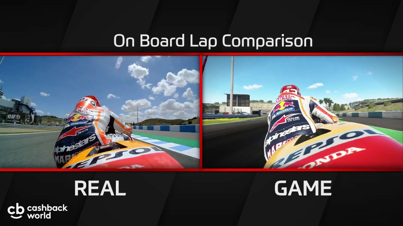 marquez honda comparison lap motogp 17 game vs motogp. Black Bedroom Furniture Sets. Home Design Ideas