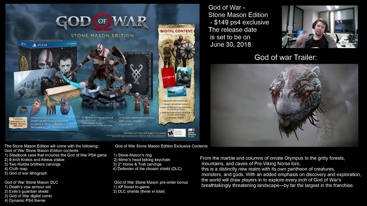 God of War Stone Mason Edition (Pre-Review) (God of war 4) - YouTube