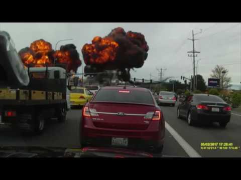 Dramatic Dashcam Footage Shows Plane Crash in Mukilteo Washington