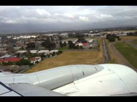 Qantas landing at Adelaide Airport