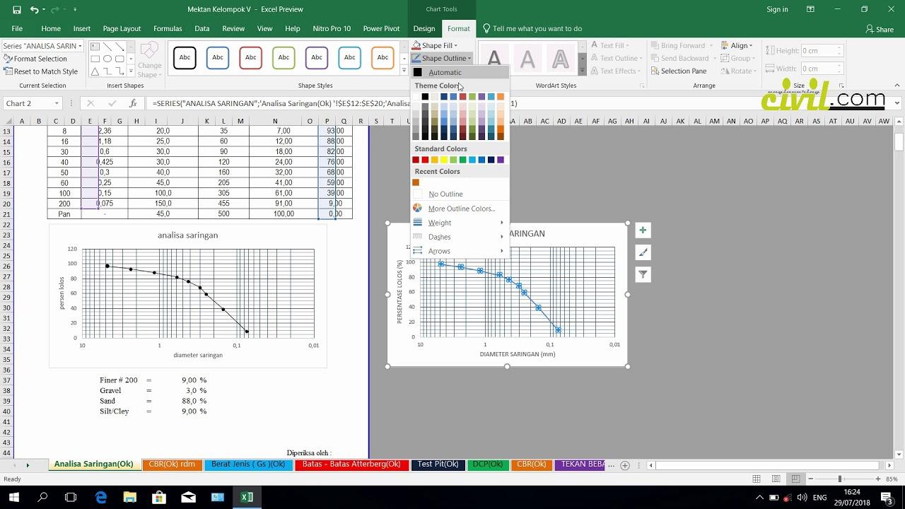 Cara Membuat Grafik Analisa Saringan Dan Grafik Cbr Dengan Excel Youtube