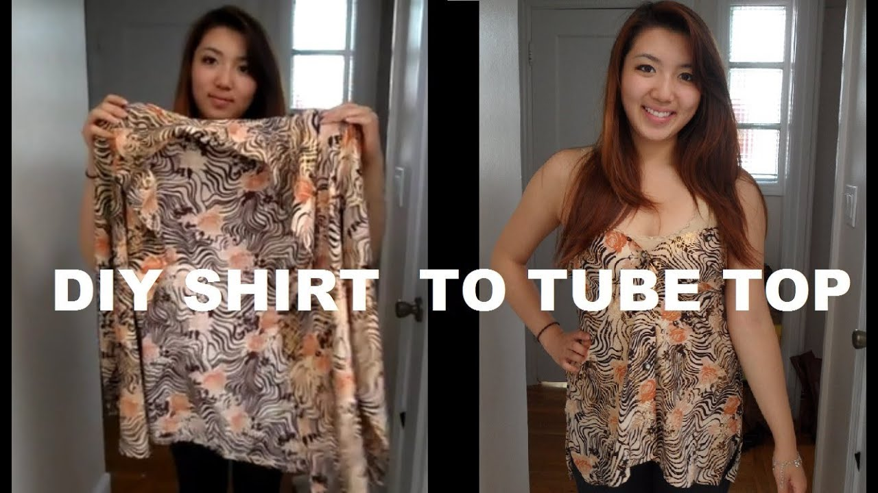 DIY: Long Sleeve Shirts into Tube Top (No Sewing) - YouTube