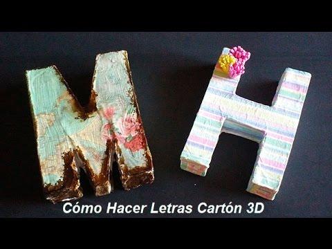 Como hacer letras de carton en 3d como decorar letras de - Letras luminosas decoracion ...
