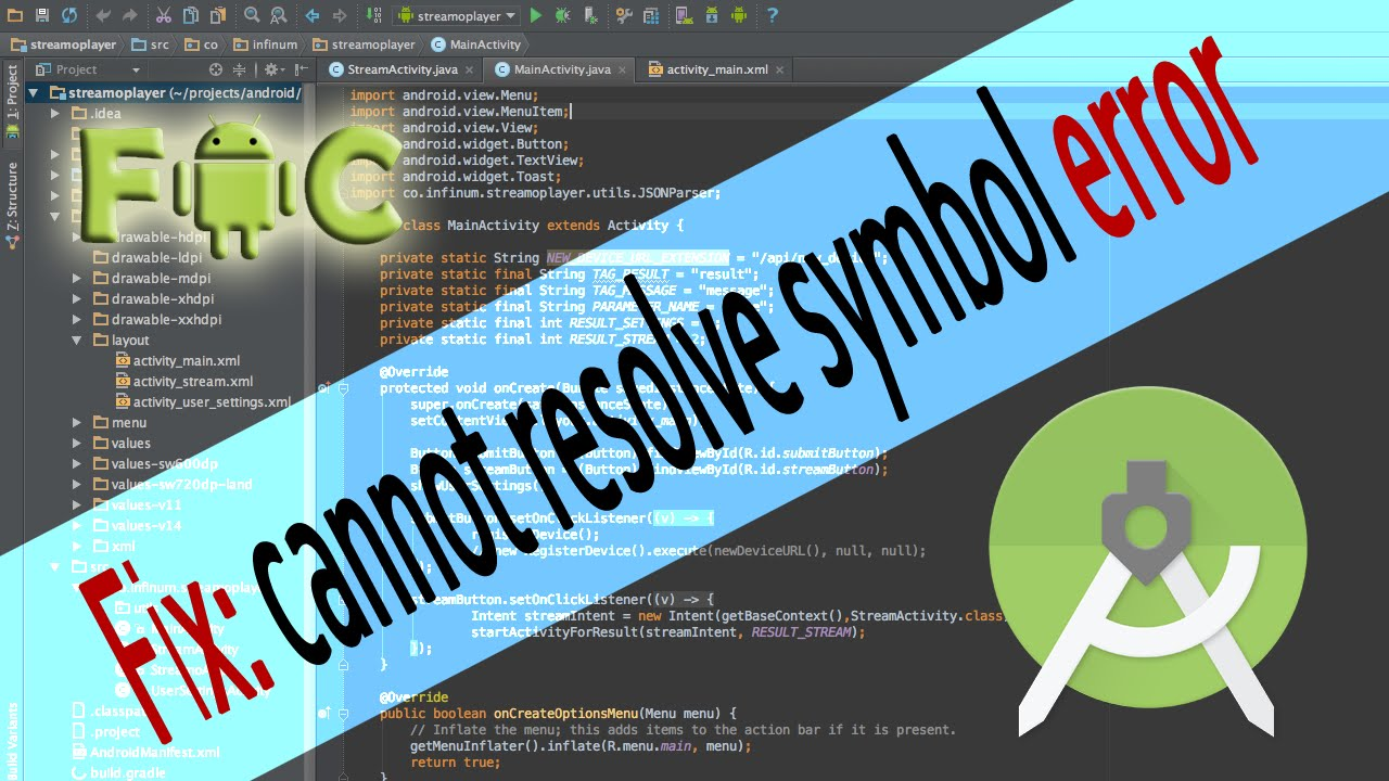 How To Fix Cannot Resolve Symbol Error In Android Studio Youtube