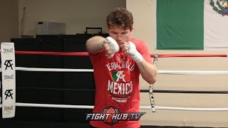 CANELO SHADOWBOXING, USING ANGLES, THROWING COMBINATIONS FOR GOLOVKIN REMATCH