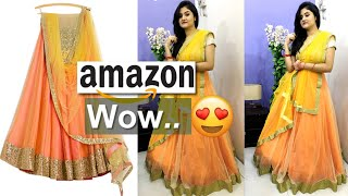 *Wedding Special* New Amazon Silk Net Stitched Lehenga Try on, Unboxing & Review   Nikki's Passion