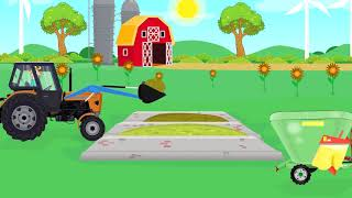 Farm Work - Cow Feeding Mixer | Tractor with front loader for Kids and babies - Bajka Traktor
