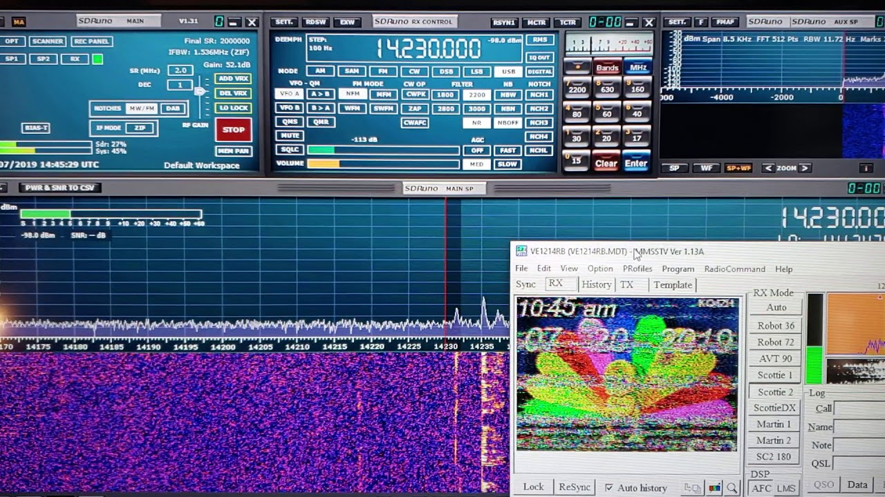 Slow scan TV decoding 14230 kHz USB Shortwave Sdrplay RSP1A W6LVP loop  antenna