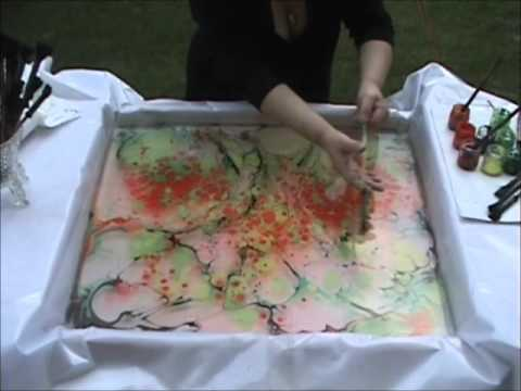 Oil Colour Over Marbling On Canvas Youtube